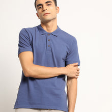 Load image into Gallery viewer, blue organic polo tshirt