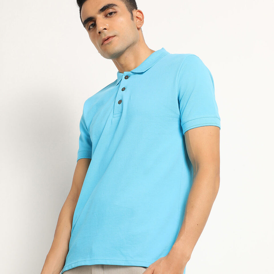 Load image into Gallery viewer, Turquoise polo tee
