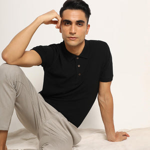polo organic tshirt in black