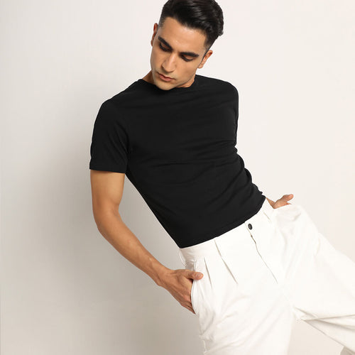 Bare Black Organic Crew Neck T-shirt