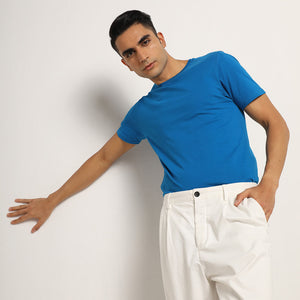 Blue organic crew neck for men