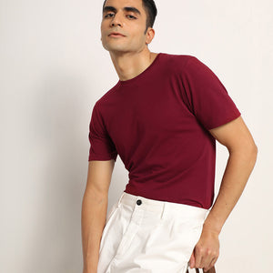 Crew neck in maroon for men
