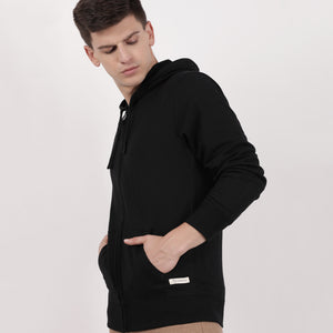Black Recycled Cotton Zipped Hoodie