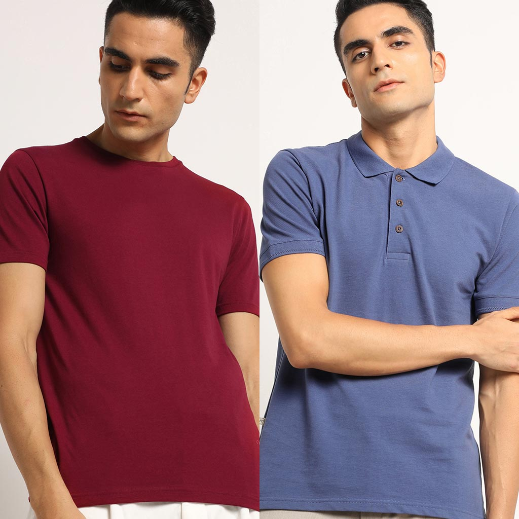 Organic Mixed Combo Crew neck and Polo Meticulous Maroon and Slate Blue