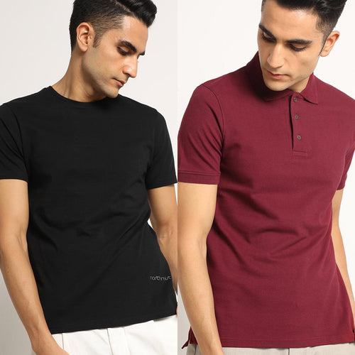 Organic Mixed Combo Crew neck and Polo Bare Black and Eunoia Maroon