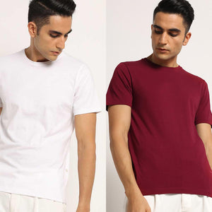 Organic Crew Neck T-Shirts Lagom White and Meticulous Maroon