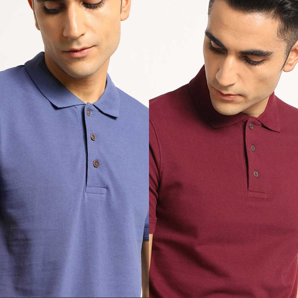 Load image into Gallery viewer, Organic Polo Neck T-Shirts- Slate Blue and Eunoia Maroon