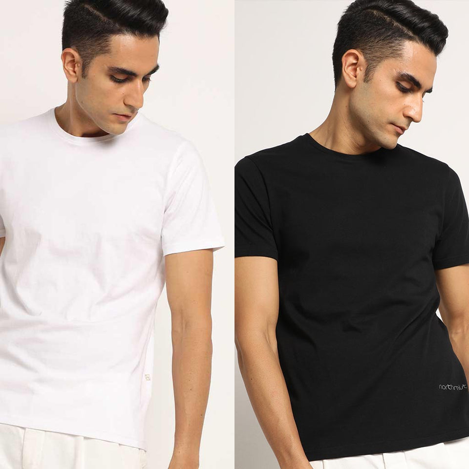 Load image into Gallery viewer, Organic Crew Neck T-Shirts Bare Black And Lagom White