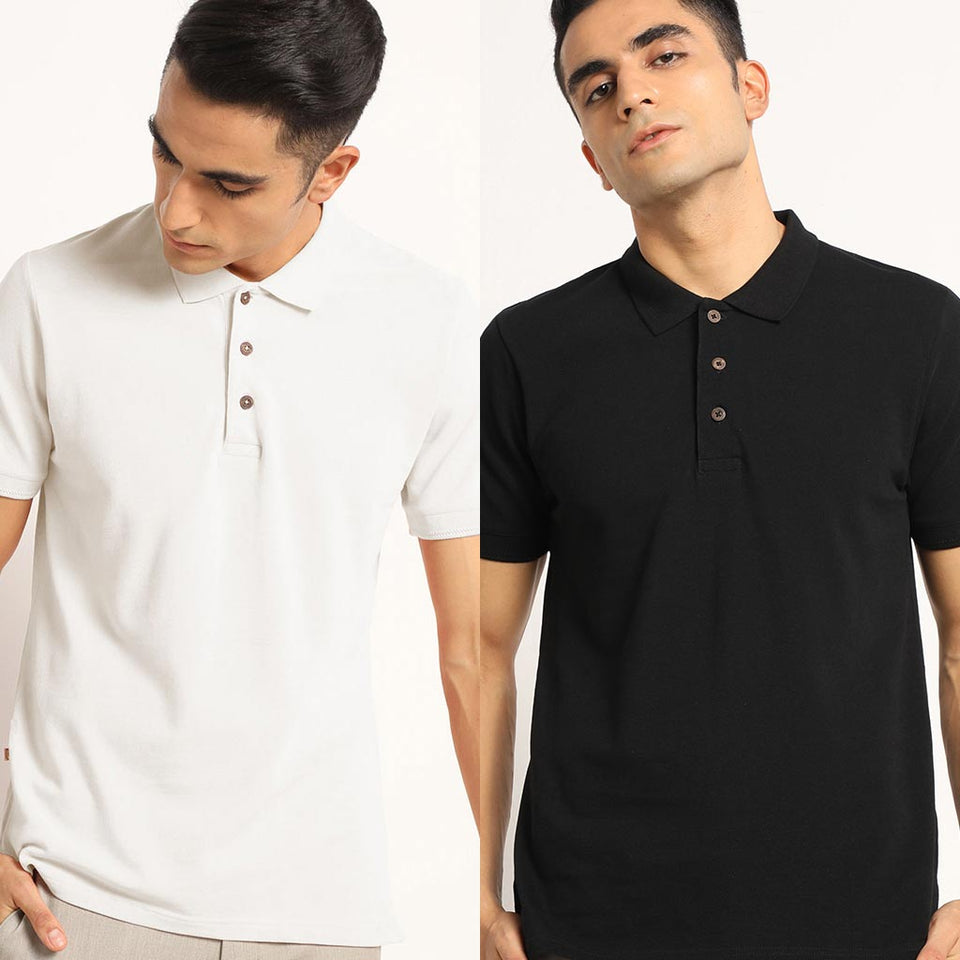 Load image into Gallery viewer, Organic Polo Neck  T-Shirts - Kalon White And Passion Black
