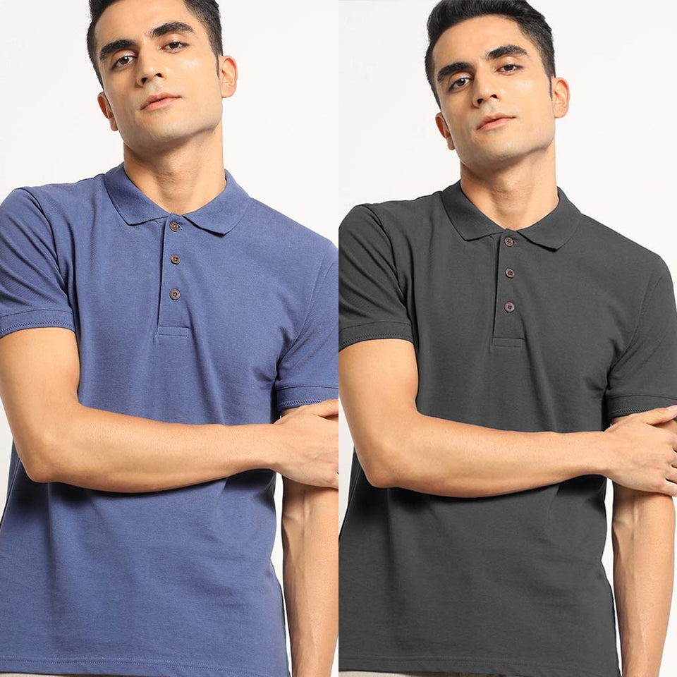 Load image into Gallery viewer, Organic Polo Neck T-Shirts- Charcoal Grey and Slate Blue for men