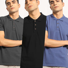 Load image into Gallery viewer, Regal Combo Pack: Organic Polo Neck T-Shirts Slate Blue, Passion Black and Charcoal Grey