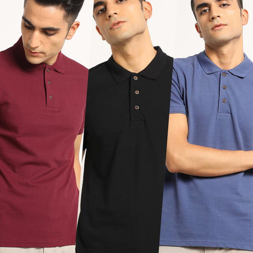 Ravine Combo Pack : Organic Polo Neck T-Shirts- Eunoia Maroon, Passion Black and Slate Blue