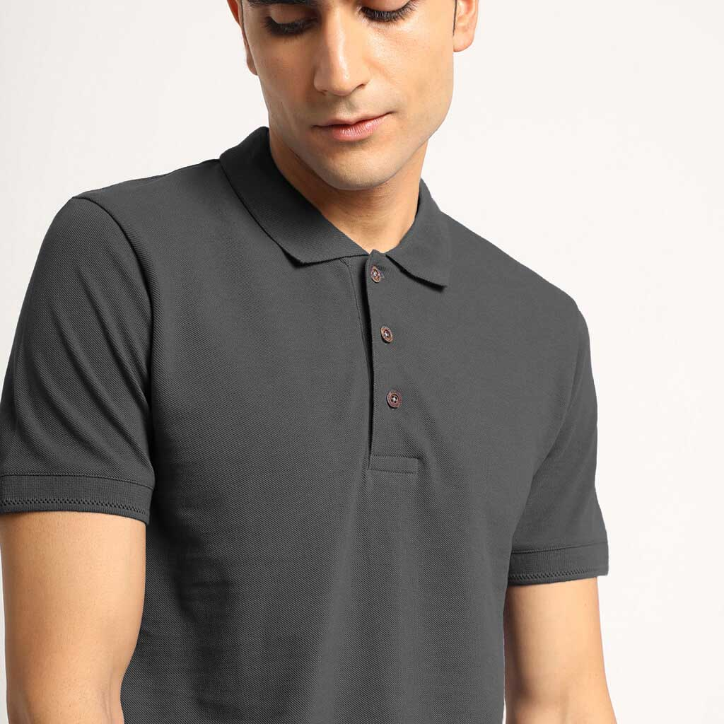 Charcoal Grey Organic Polo Neck T-Shirt