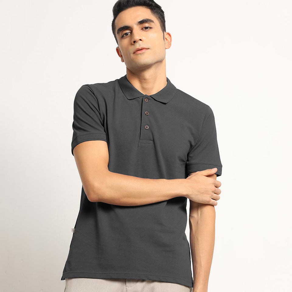 Load image into Gallery viewer, Charcoal Grey Organic Polo Neck T-Shirt