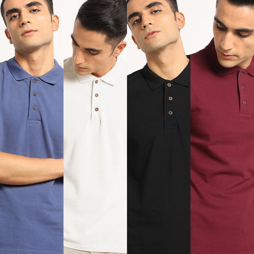 Classic Combo Organic Polo Neck T-Shirts for men