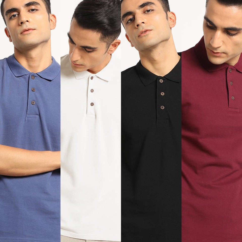 Load image into Gallery viewer, Classic Combo Organic Polo Neck T-Shirts for men