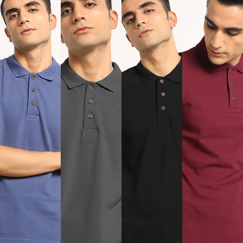Club Combo Pack: Organic Polo Neck T-Shirts- Slate Blue, Eunoia Maroon, Charcoal Grey and Passion Black