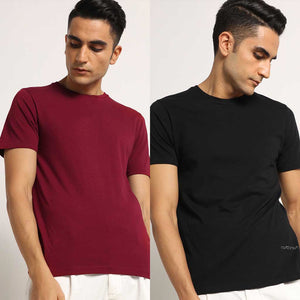 Organic Crew Neck T-Shirts Bare Black and Meticulous Maroon