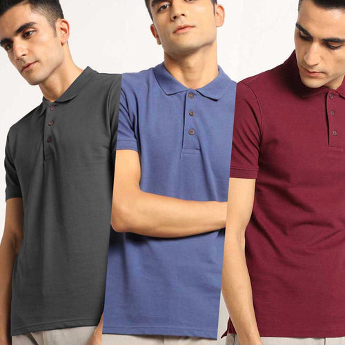 Canyon Combo Pack : Organic Polo Neck T-Shirts- Charcoal Grey, Slate Blue and Eunoia Maroon