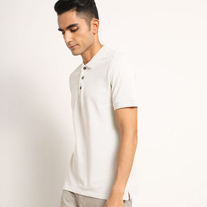 Kalon White Organic Polo Neck T-Shirt