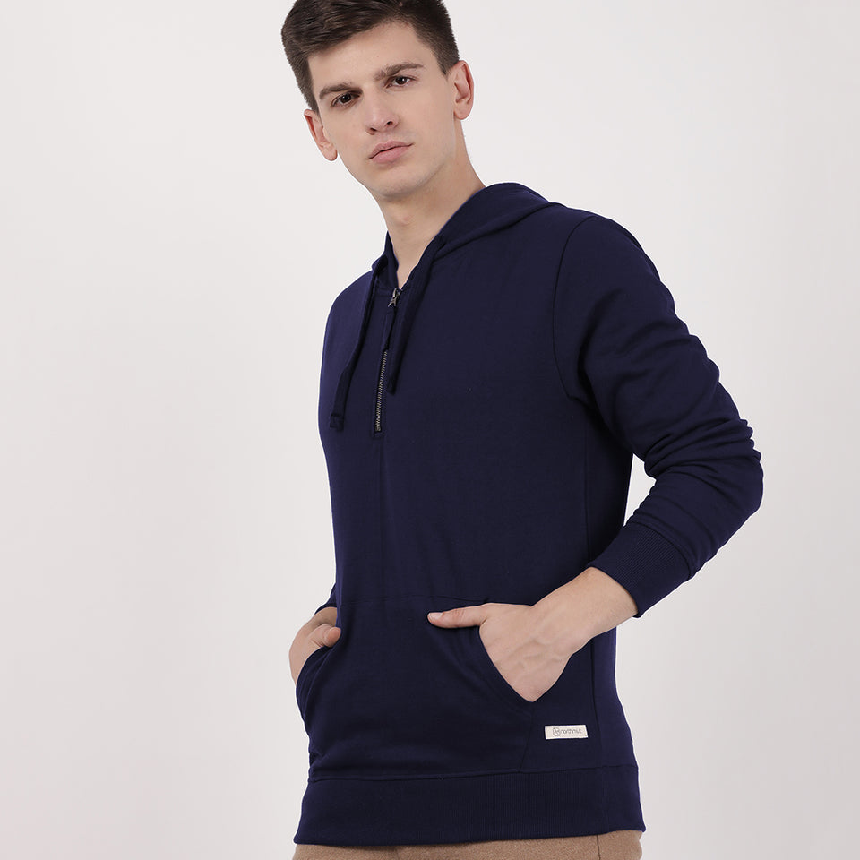 Load image into Gallery viewer, Navy Recycled Cotton Half Zipped Hoodie