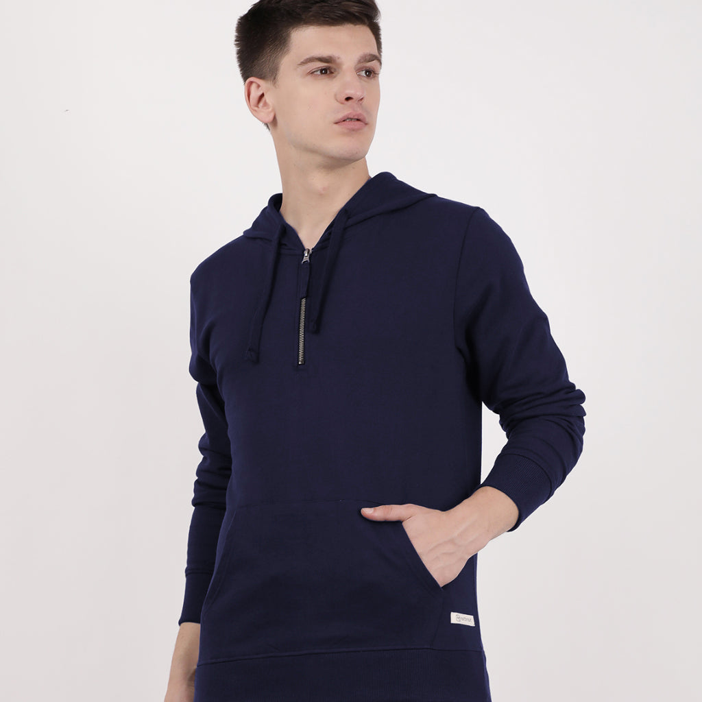Navy Recycled Cotton Half Zipped Hoodie