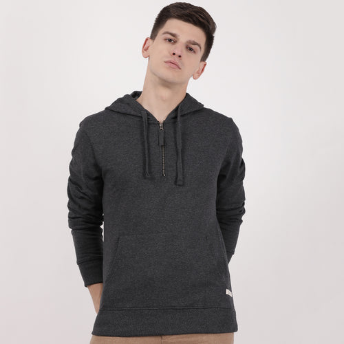 Charcoal Recycled Cotton Half Zipped Hoodie