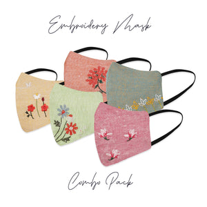 Embroidery Mask For Women Combo Pack Of 5
