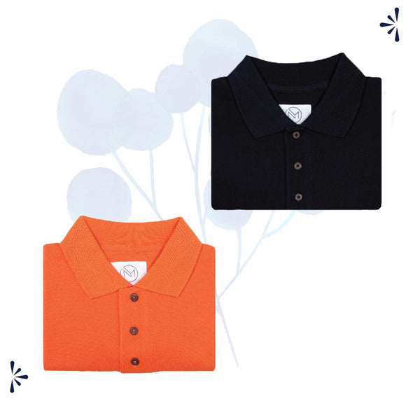 Orange and  black polo tshirt