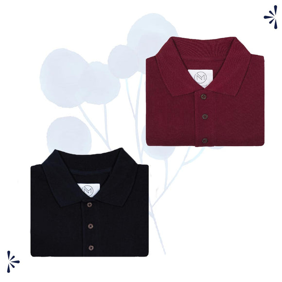 Classic Combo Pack: Organic Polo T-shirts- Black & Maroon
