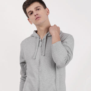 Grey melange recycled cotton Zipper hoodie