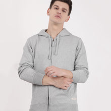 Load image into Gallery viewer, Grey melange recycled cotton Zipper hoodie