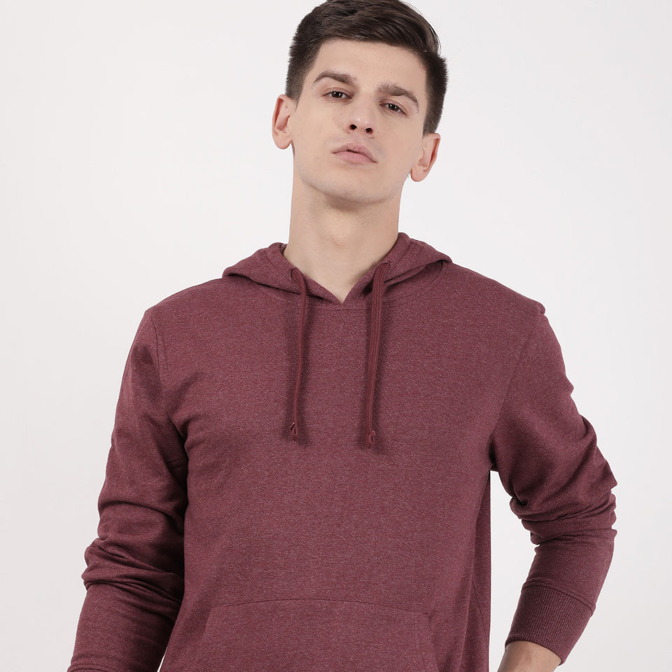 Load image into Gallery viewer, Maroon Recycled Cotton Kangaroo Pocket Hoodie