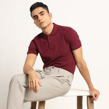 Load image into Gallery viewer, Eunoia Maroon Organic Polo Neck T-Shirt