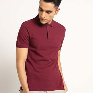 Classic Combo Pack: Organic Polo Neck  T-Shirts - Slate Blue, Kalon White ,Passion Black and Eunoia Maroon