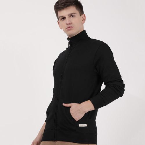 Black recycle cotton turtle neck Sweatshirt