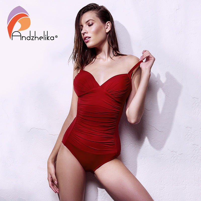 f45eaaa428d Andzhelika Plus Size Swimwear 2018 New One Piece Swimsuit Women Retro  Vintage Bathing Suits Beachwear Solid
