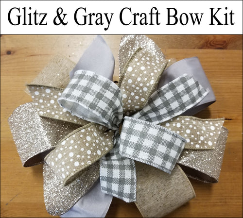 Gray neutral gold DIY Craft Bow Kit. Designer DIY sells craft kits for bows, wreaths and more! Learn how to make a easy bow.