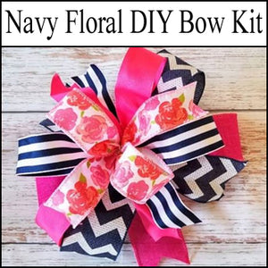 Navy & Pink Floral DIY Craft Bow Kit - Designer DIY