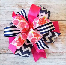 Load image into Gallery viewer, Navy & Pink Floral DIY Craft Bow Kit - Designer DIY