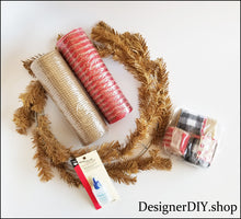 Load image into Gallery viewer, Red, Tan, Buffalo Plaid DIY Wreath Kit - Designer DIY