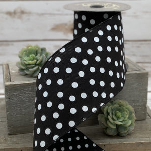 "4"" Black & White Dots Double Sided DESIGNER Ribbon - Designer DIY"