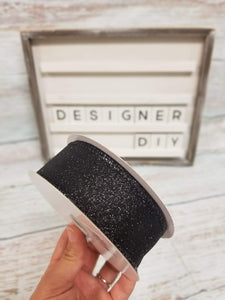 "1.5"" Black Glitter Ribbon - Designer DIY"
