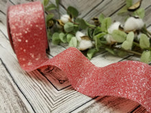 "Load image into Gallery viewer, 2.5"" Frosted Red Glitter Ribbon - Designer DIY"