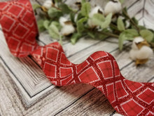 "Load image into Gallery viewer, 2.5"" Red Glitter Argyle Ribbon - Designer DIY"