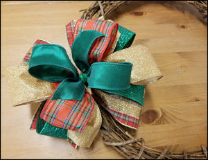 Red & Emerald Christmas DIY Craft Bow Kit - Designer DIY