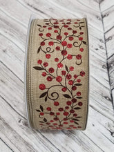 "Load image into Gallery viewer, 2.5"" Red & Brown Berry Branch Ribbon - 25 YARDS - Designer DIY"