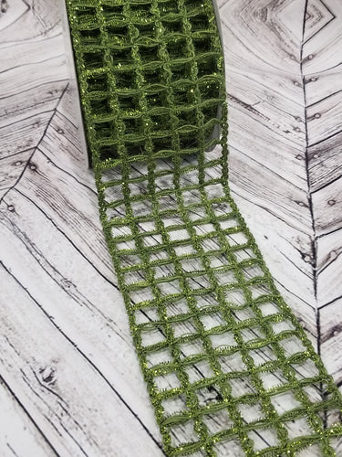 4 inch wide dark green metallic grid ribbon. Moss green windowpane ribbon. Olive Green texured ribbon. Use in wreaths, garlands, bows, swags, and home decor. Designer DIY carries ribbon, mesh, signs, home decor and other craft supplies.