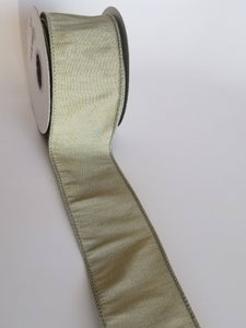 "2.5"" Sage Green Wired Ribbon"