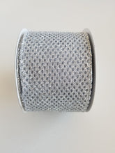 "Load image into Gallery viewer, 2.5"" Silver Glitter Mesh Ribbon - Designer DIY"